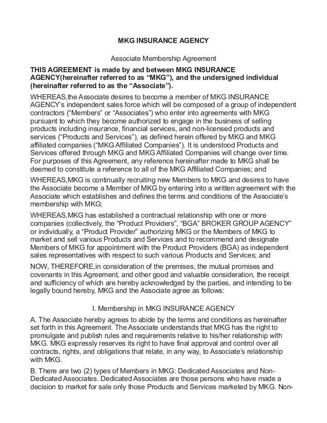 MKG Insurance Sample Associate Agreement-Vesting Milestone
