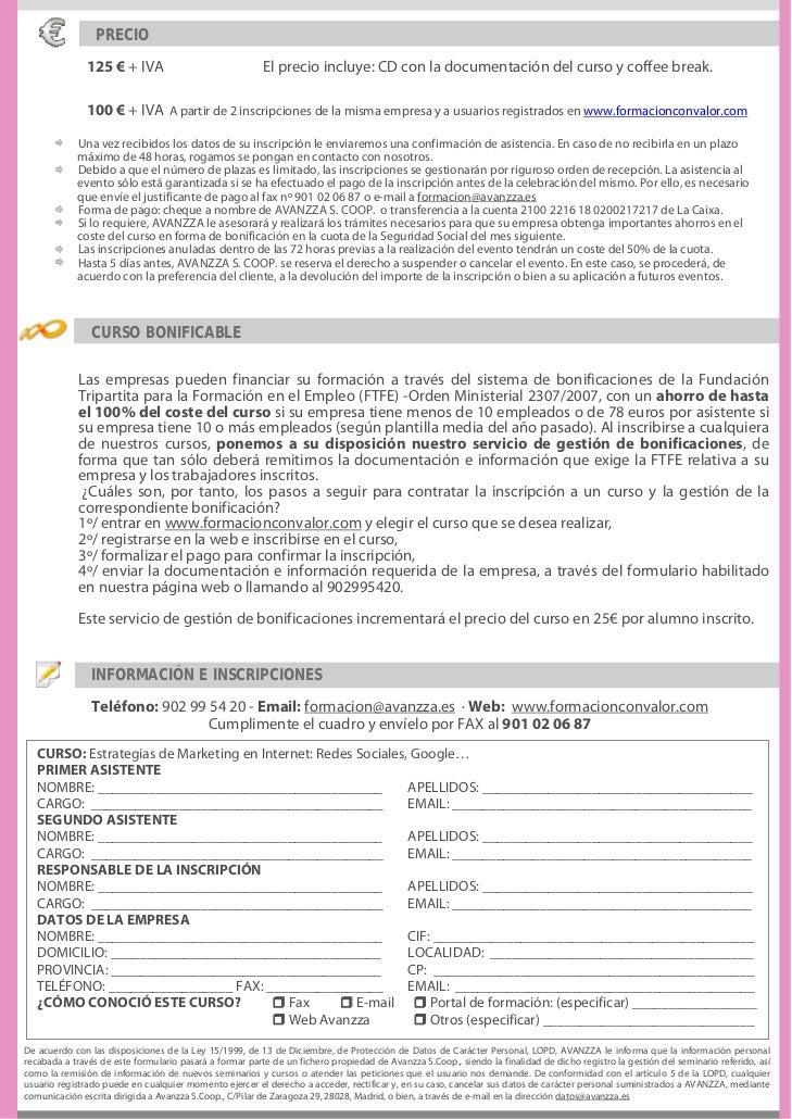 PRECIO               125 € + IVA                               El precio incluye: CD con la documentación del curso y coff...