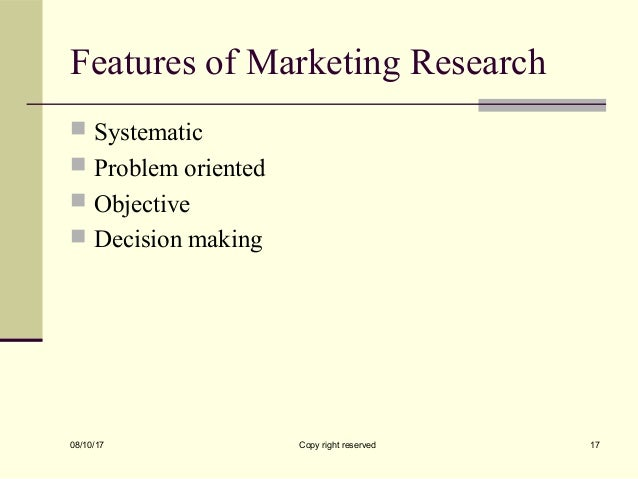 features and objectives of marketing research