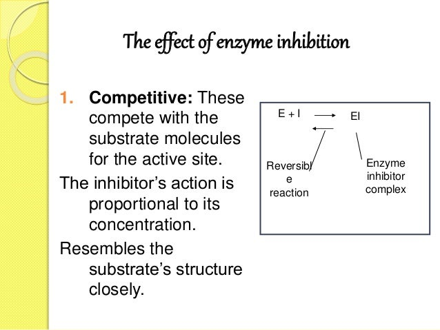The effect of enzyme inhibition 1. Competitive: These compete with the substrate molecules for the active site. The inhibi...