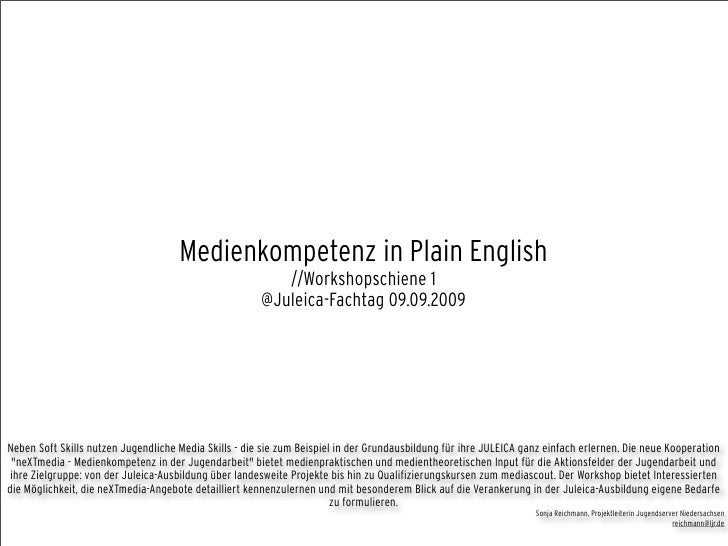 Medienkompetenz in Plain English                                                           //Workshopschiene 1            ...