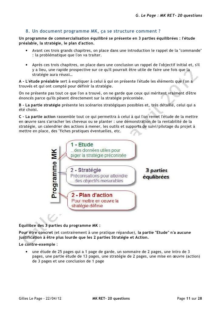 G. Le Page : MK RET- 20 questions   8. Un document programme MK, ça se structure comment ?Un programme de commercialisatio...