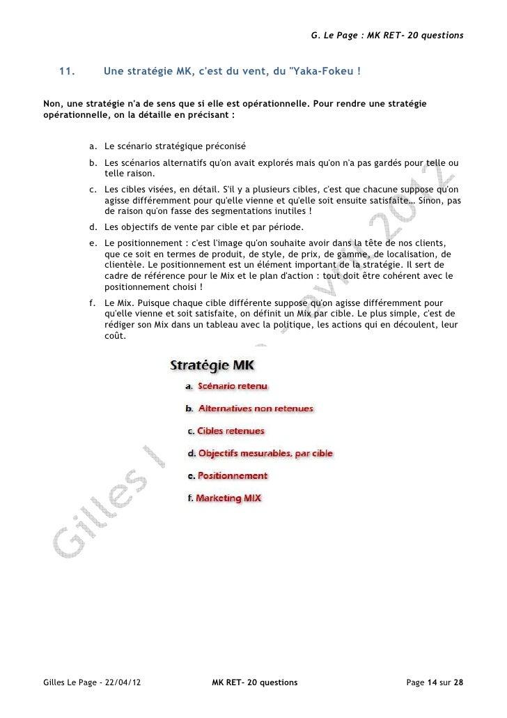 """G. Le Page : MK RET- 20 questions   11.         Une stratégie MK, cest du vent, du """"Yaka-Fokeu !Non, une stratégie na de s..."""