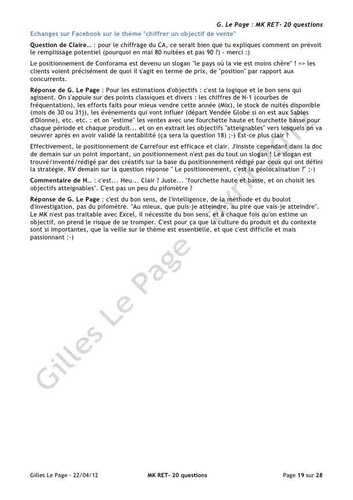 """G. Le Page : MK RET- 20 questionsEchanges sur Facebook sur le thème """"chiffrer un objectif de vente""""Question de Claire… : p..."""