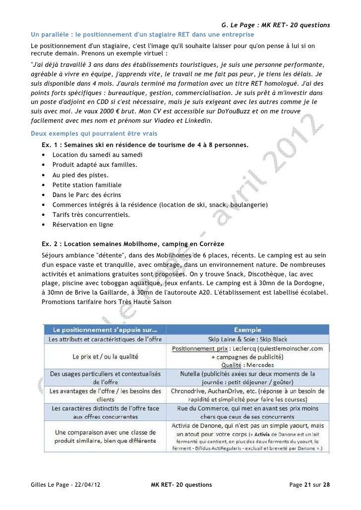 G. Le Page : MK RET- 20 questionsUn parallèle : le positionnement dun stagiaire RET dans une entrepriseLe positionnement d...