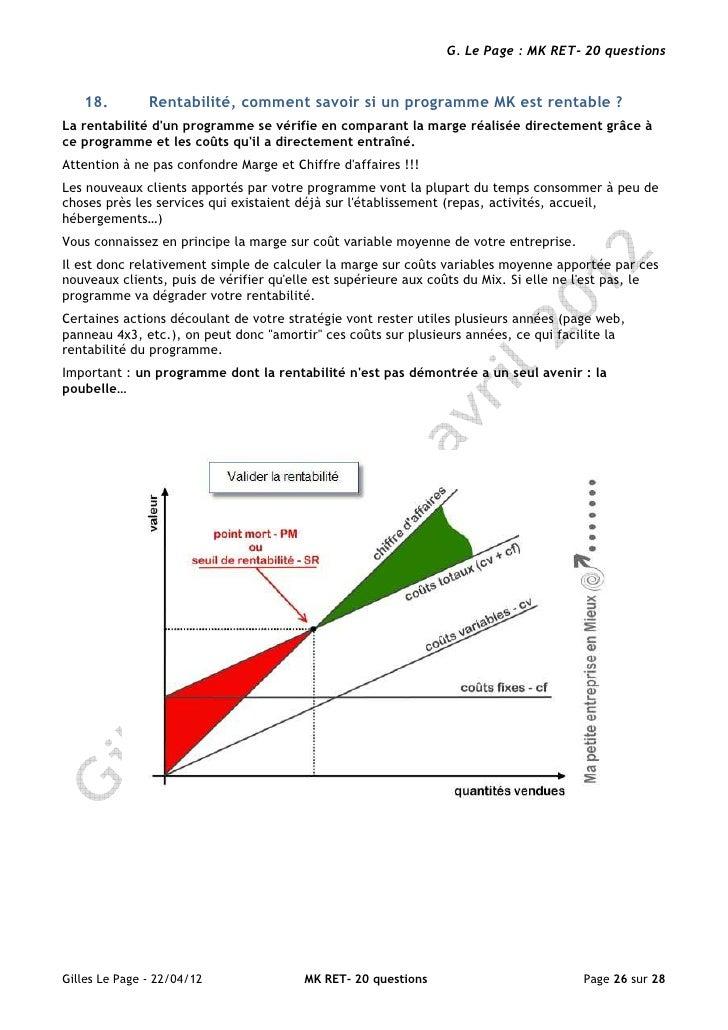 G. Le Page : MK RET- 20 questions   18.         Rentabilité, comment savoir si un programme MK est rentable ?La rentabilit...