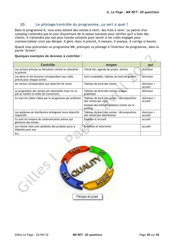 G. Le Page : MK RET- 20 questions       20.        Le pilotage/contrôle du programme, ça sert à quoi ?Dans le programme K,...