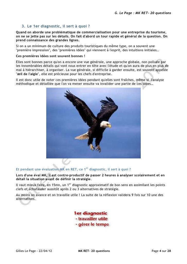 G. Le Page : MK RET- 20 questions   3. Le 1er diagnostic, il sert à quoi ?Quand on aborde une problématique de commerciali...