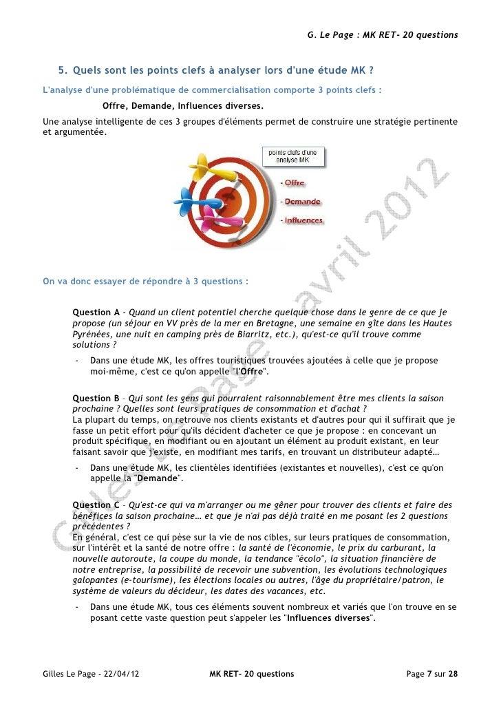 G. Le Page : MK RET- 20 questions   5. Quels sont les points clefs à analyser lors dune étude MK ?Lanalyse dune problémati...