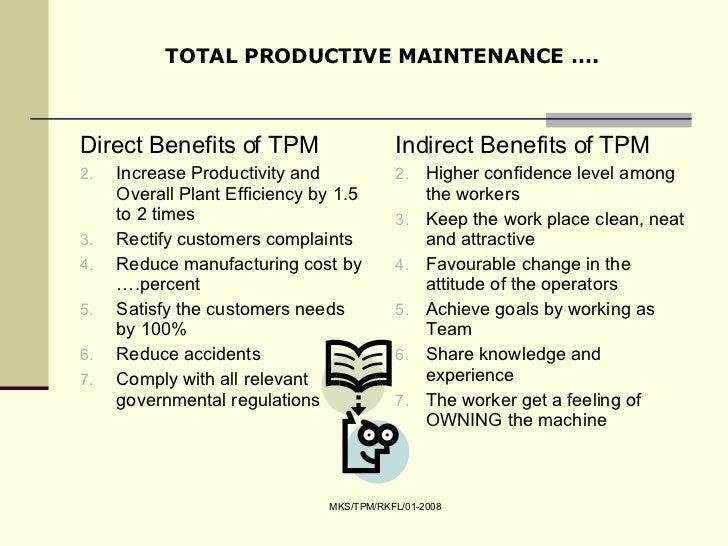 tpm total productive maintenance Total productive maintenance (tpm) is a holistic approach to equipment maintenance achieve zero defects, zero breakdowns and zero accidents with maintwiz.