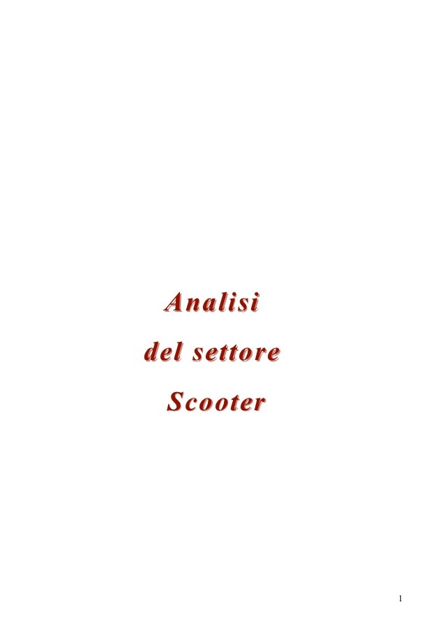 Analisidel settore Scooter              1