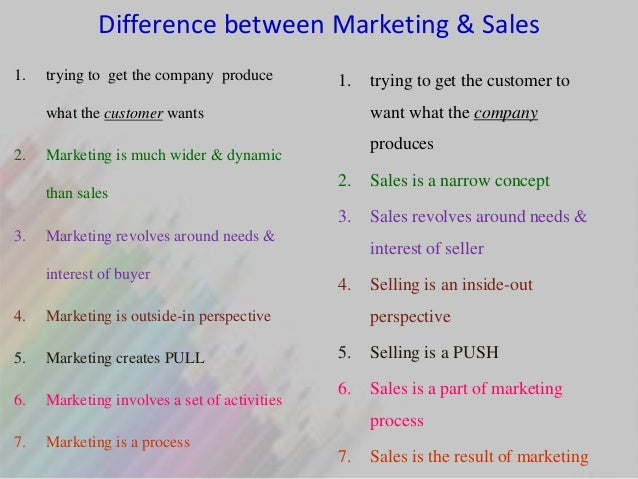 an analysis of the difference between sales and marketing Sales & marketing management marketing management market analysis marketing questionnaire sales and marketing management will examine the responsibility of the.