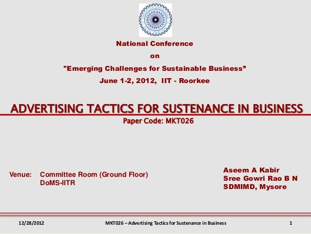"""National Conference                                               on                """"Emerging Challenges for Sustainable B..."""