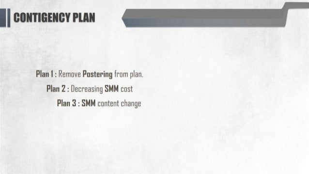 "ll l}lIl""TfI3<El""lEst' Wat""  Plan l :  Remove Postering from plan.  Plan 2 :  Decreasing SMM cost Plan 3 :  SMM content ch..."