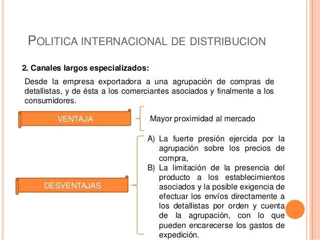 POLITICA INTERNACIONAL DE DISTRIBUCION2. Canales largos especializados:Desde la empresa exportadora a una agrupación de co...