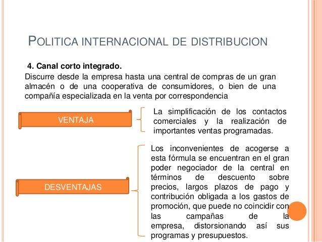 POLITICA INTERNACIONAL DE DISTRIBUCION 4. Canal corto integrado.Discurre desde la empresa hasta una central de compras de ...