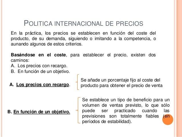 POLITICA INTERNACIONAL DE PRECIOS En la práctica, los precios se establecen en función del coste del producto, de su deman...