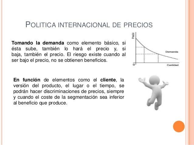 POLITICA INTERNACIONAL DE PRECIOSTomando la demanda como elemento básico, siésta sube, también lo hará el precio y, sibaja...