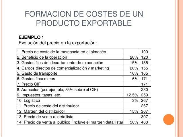 FORMACION DE COSTES DE UN      PRODUCTO EXPORTABLEEJEMPLO 1Evolución del precio en la exportación:1. Precio de coste de la...
