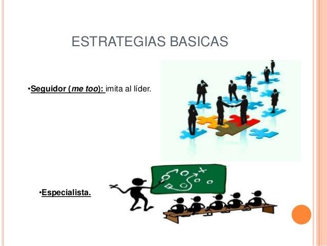 ESTRATEGIAS BASICAS•Seguidor (me too): imita al líder.   •Especialista.