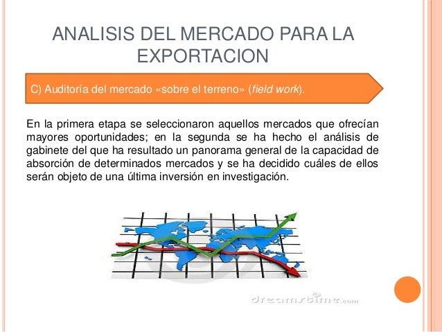 ANALISIS DEL MERCADO PARA LA            EXPORTACIONC) Auditoría del mercado «sobre el terreno» (field work).En la primera ...