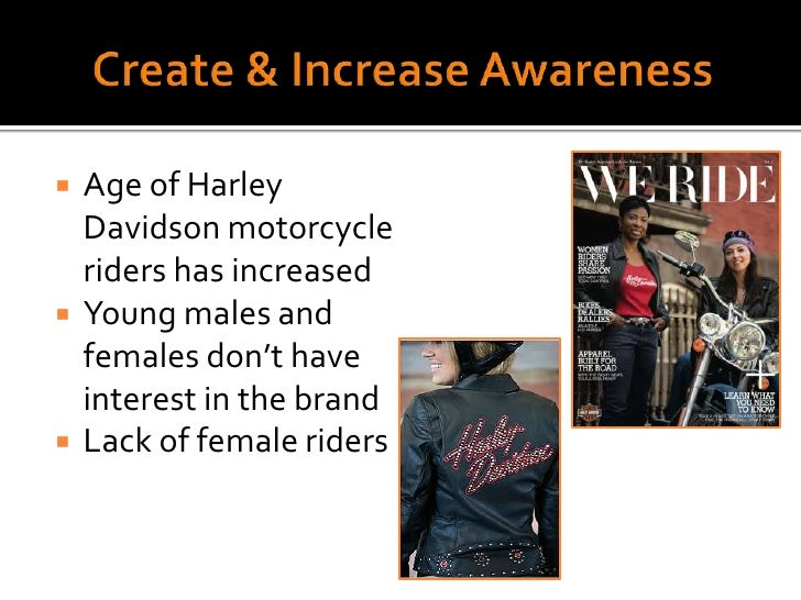 Create & Increase Awareness<br />Age of Harley Davidson motorcycle riders has increased<br />Young males and females don't...