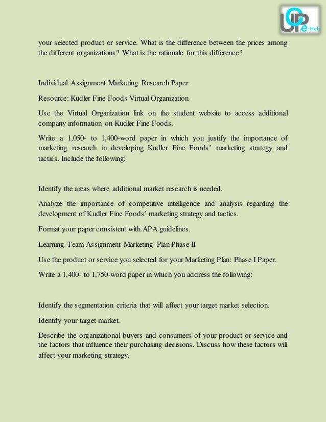 Kudler Fine Foods Marketing Research Paper