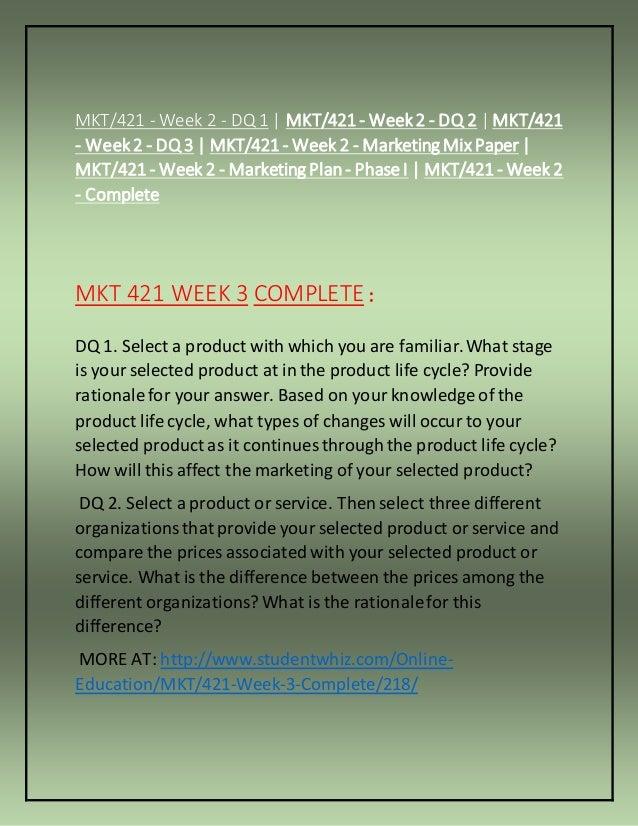 MKT 421 Week 2 DQs