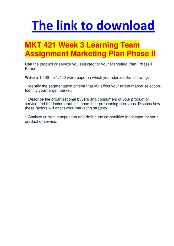 Mkt 505 assignment 3 entry plan