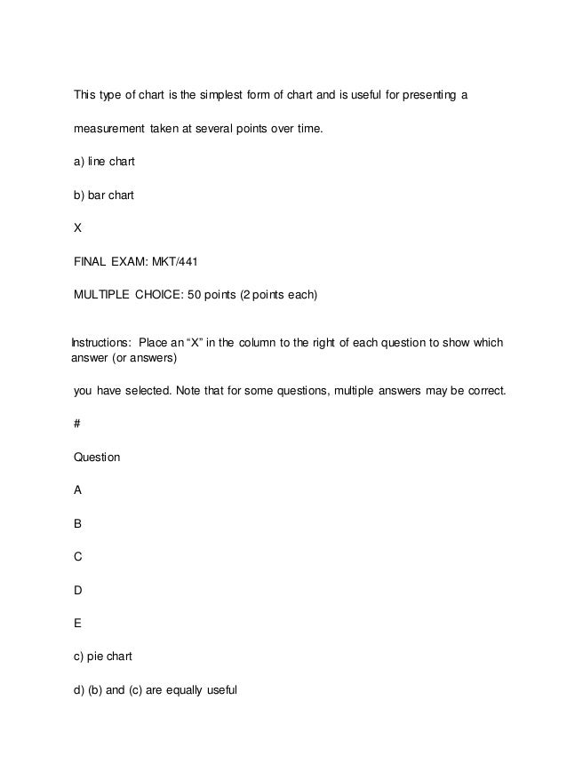 mkt 441 final exam Mkt 441 final exam please download the answers here 1 which of the following would not be part of the marketing research function with regard to managerial.