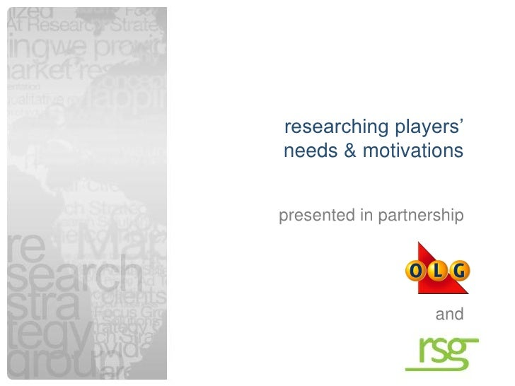 """researching players""""    needs & motivations    presented in partnership                        and1"""