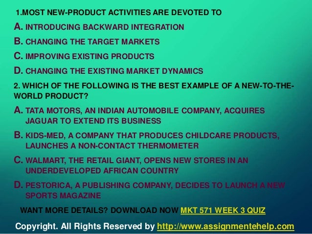 MKT 571 week 2 assignment New Product Launch Marketing Plan, Part I