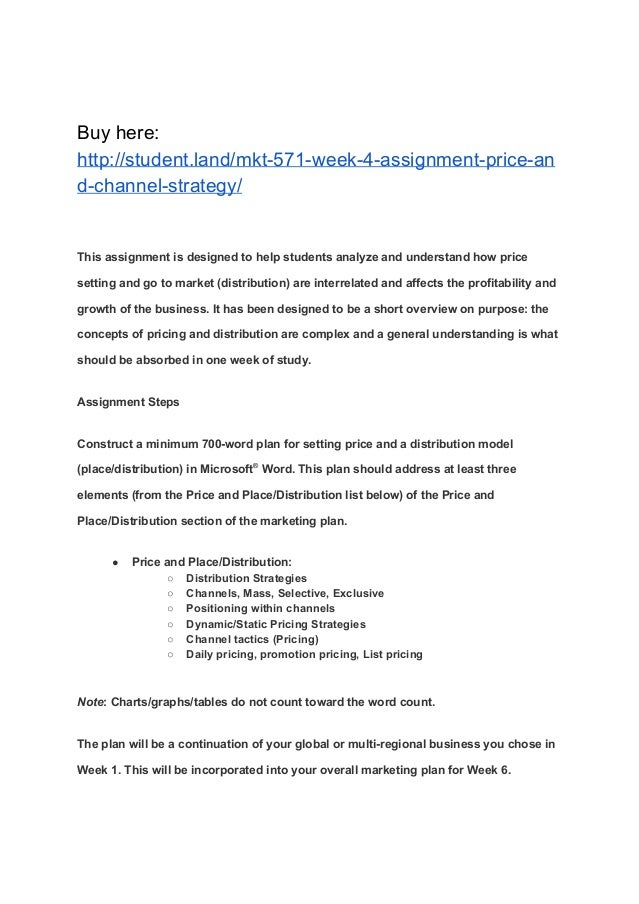 assignment 1 pricing strategy Ocr level 1/2 cambridge national certificate in enterprise and marketing   strategy and propose a selling price per unit for their product they will perform.
