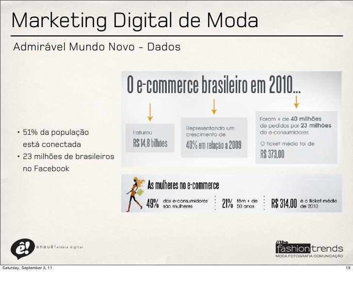 Marketing Digital de Moda     Admirável Mundo Novo - Dados       • 51% da população         está conectada       • 23 milh...