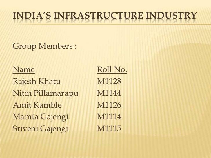 India's Infrastructure Industry<br />Group Members :<br />NameRoll No.<br />Rajesh Khatu M1128<br />Nitin PillamarapuM1...