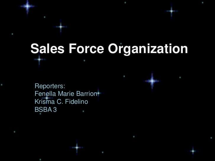 Sales Force OrganizationReporters:Fenella Marie BarrionKrisma C. FidelinoBSBA 3
