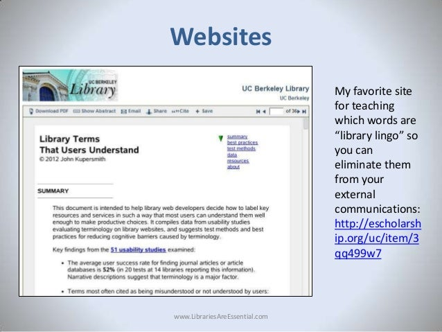 """Websites My favorite site for teaching which words are """"library lingo"""" so you can eliminate them from your external commun..."""