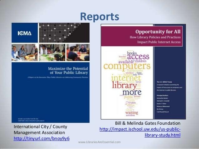 Reports  International City / County Management Association http://tinyurl.com/bnoy9y6  Bill & Melinda Gates Foundation ht...