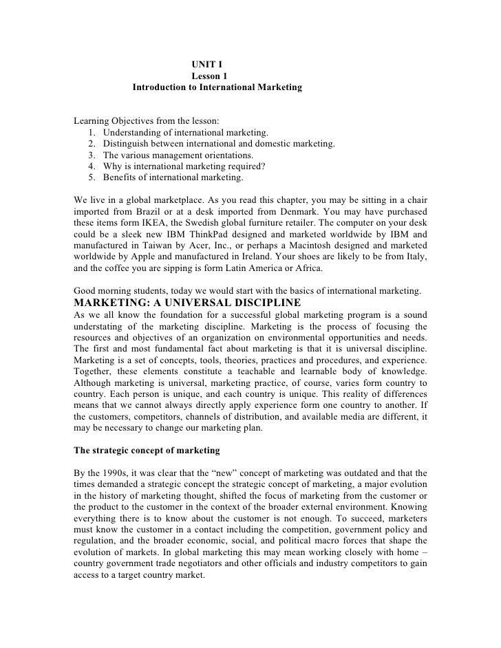 UNIT I                              Lesson 1                Introduction to International Marketing   Learning Objectives ...