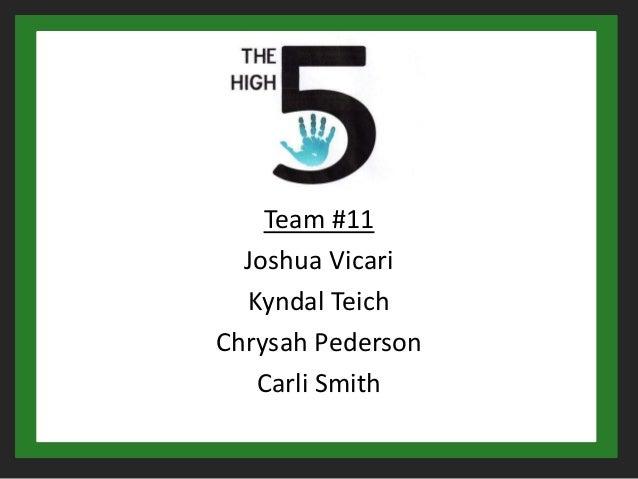 Team #11  Joshua Vicari  Kyndal TeichChrysah Pederson   Carli Smith