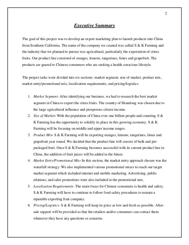 Import/export store business plan executive summary, company.
