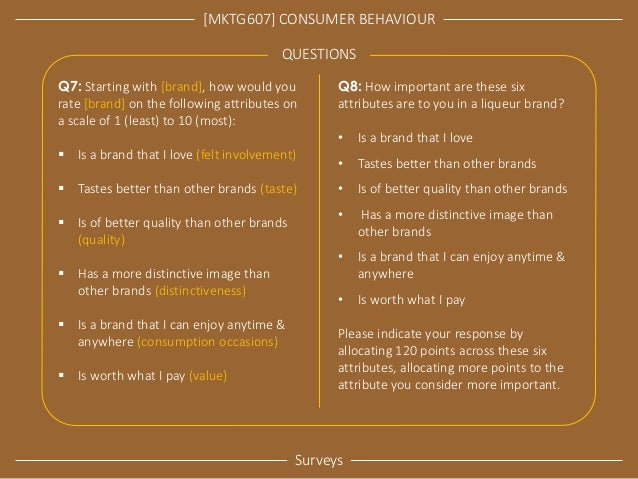 [MKTG607] CONSUMER BEHAVIOUR  Surveys  QUESTIONS  Q7: Starting with [brand], how would you rate [brand] on the following a...