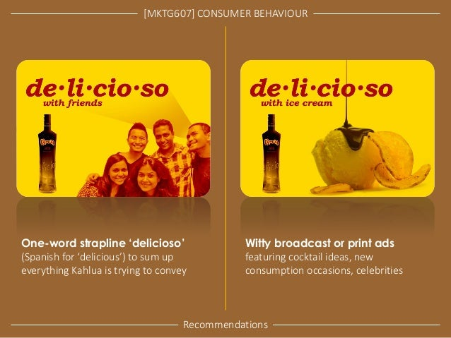 [MKTG607] CONSUMER BEHAVIOUR  Recommendations  One-word strapline 'delicioso' (Spanish for 'delicious') to sum up everythi...