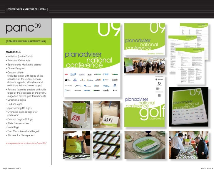 [CONFERENCES MARKETING COLLATERAL]   [PLANADVISER NATIONAL CONFERENCE 2009]   MATERIALS   • Invitation (online/print)   • ...