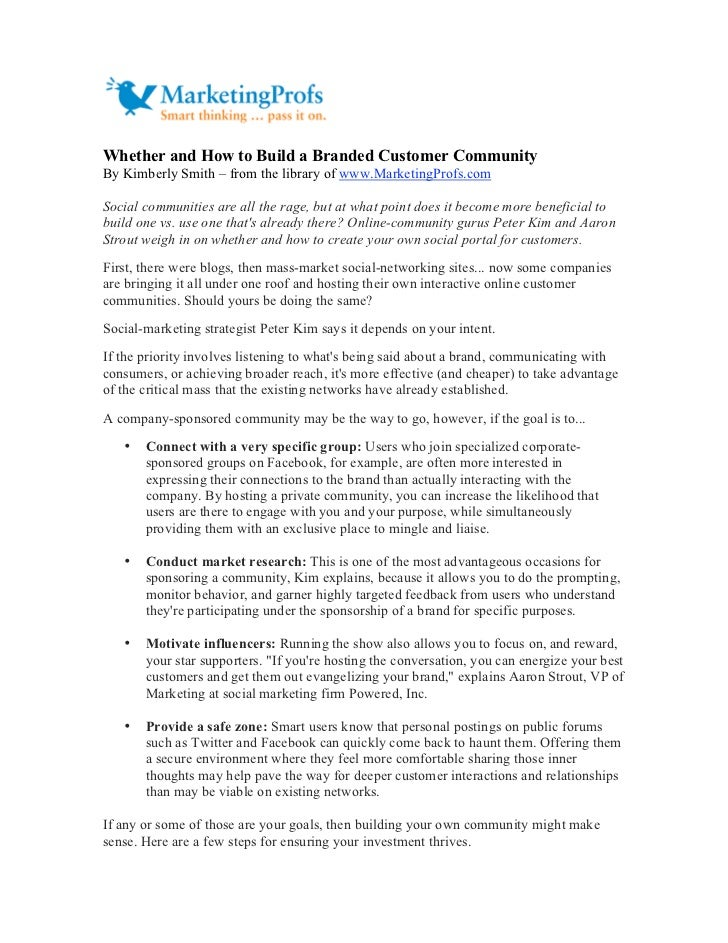 Whether and How to Build a Branded Customer Community By Kimberly Smith – from the library of www.MarketingProfs.com  Soci...