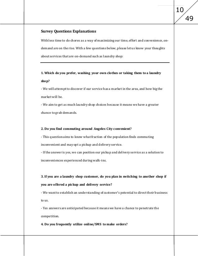 Feasibility Study of a Laundry Business Essay Sample