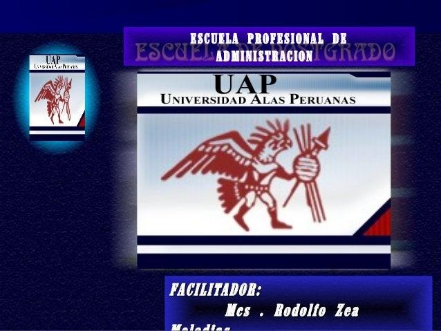 ESCUELA PROFESIONAL DE ADMINISTRACION FACILITADOR:FACILITADOR: Mcs . Rodolfo ZeaMcs . Rodolfo Zea