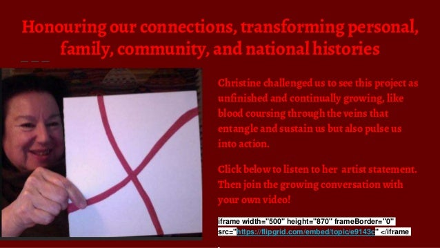 Honouring our connections, transforming personal, family, community, and national histories Christine challenged us to see...