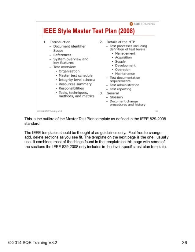 Essential test management and planning for Ieee 829 test strategy template