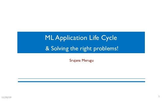 ML Application Life Cycle 111/20/19 Srujana Merugu & Solving the right problems!
